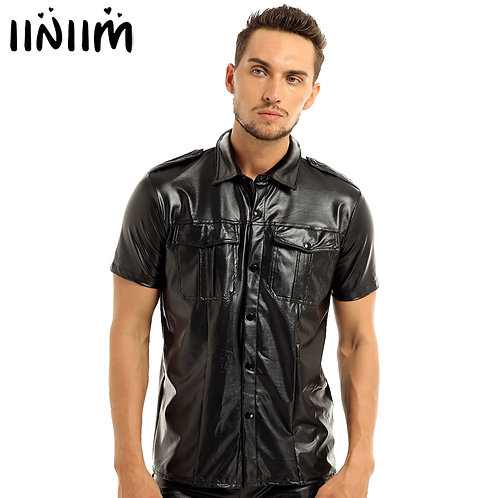 Leather Short Sleeve Police Uniform Shirt With Down Collar Casual Shirts