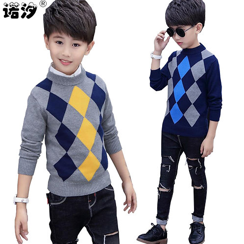 Boys Sweaters Kids Winter Boys Pure Cotton High Quality Knitted Sweaters 4-15t