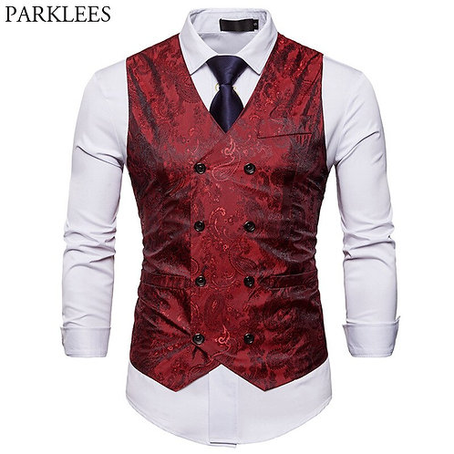 Men's Red Paisley Double Breasted Dress Vest 2020 Brand New Slim Fit Formal