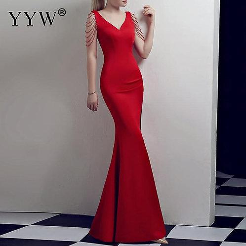 Crystal Beading v Neck Sleeveless Elegant Evening Dresses