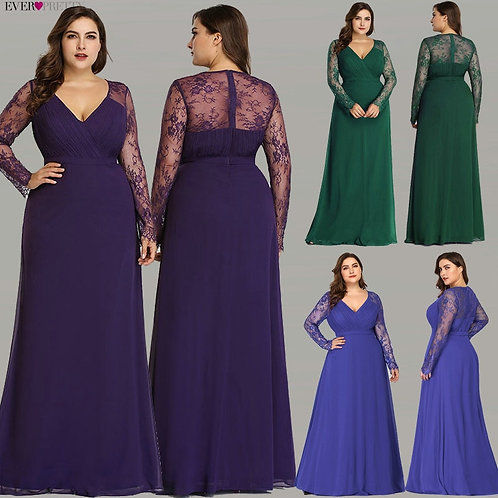 Women's Autumn Elegant V-Neck Long Sleeve Lace Plus Size Prom Evening Party