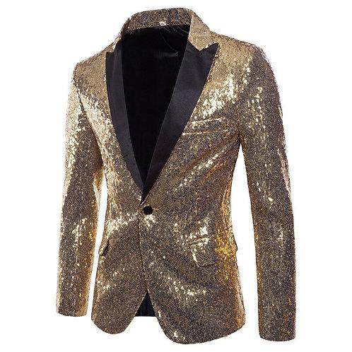 Gold Sequins Tuxedo Blazer Men Stage Disco Nightclub Mens Blazers Suit Jacket