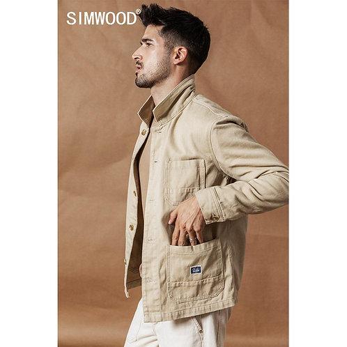 SIMWOOD 2020 Spring New Cargo Jacket Fashion 100% Cotton Jackets High Quality