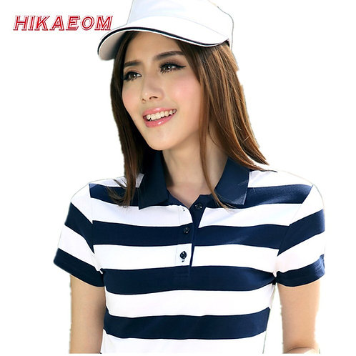 New Summer Striped Cotton Short Sleeved Polos Womens Polo Tops Plus Size