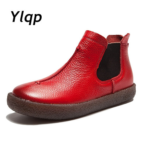 Women England Style Brand New Women Genuine Leather Flat Boots