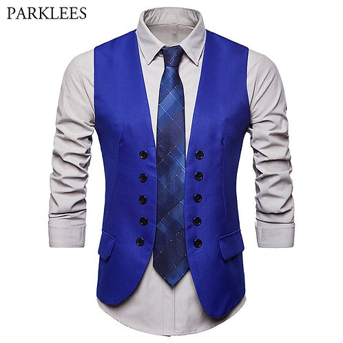Men's Fashion Royal Brand New Double Breasted Dress Vests Men Casual Sleeveless