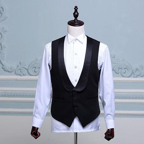 Fashion Men's Stage Show Waistcoat Black Shawl Collar  Men Suit Vest