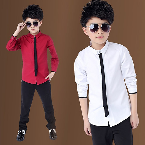 Hot Sale Children Boy's Red Shirts Spring 2019 Classic Solid White Tops Cotton