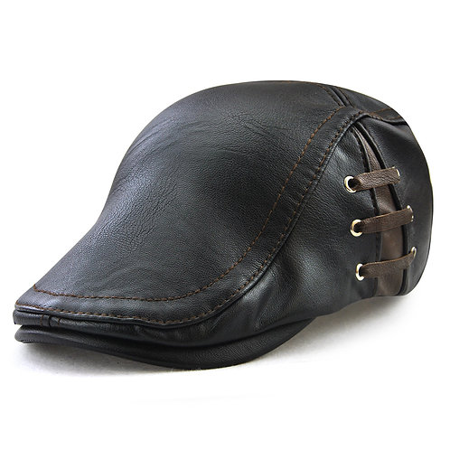 Leather Newsboy Hat
