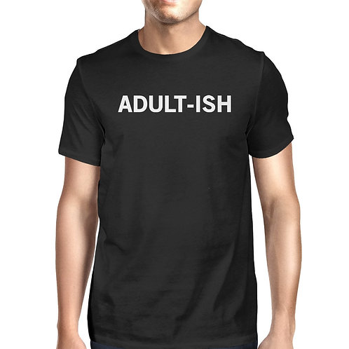 Adult-Ish Men's Black Shirts Funny Graphic Printed Short Sleeve Tee