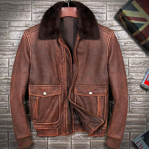 Free shipping.Brand Men Winter Warm Thick Cowhide Jackets,men's Genuine Leather