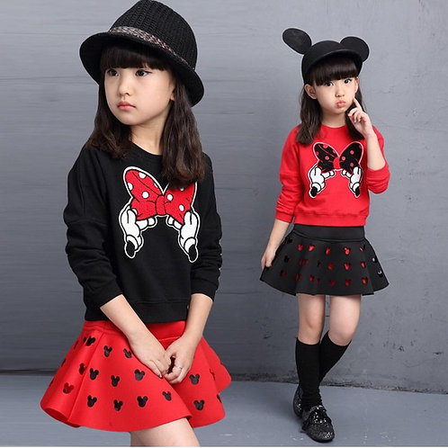 Latest Spring and Autumn Piece Fitted Girls, Cartoon Bow Embroidered Sweater