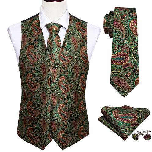 4PC Mens Silk Vest Party Wedding Green Paisley Solid Floral Waistcoat Vest