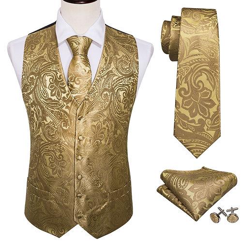 4PC Mens Extra Silk Vest Party Wedding Gold Paisley Waistcoat Vest Pocket