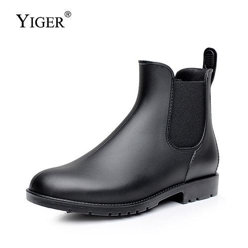 Men Rain  Chelsea Ankle Casual  Rubber Rain Shoes Waterproof