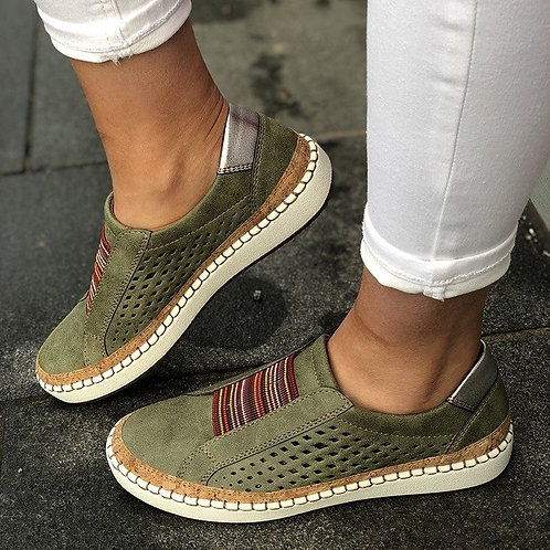 Women Flats Slip on Sneakers Female Hollow Out Shoes Woman Breathable Loafers