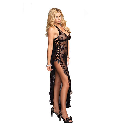 Sexy Women Slips Plus Size Erotic Transparent Long Nightdress Lace