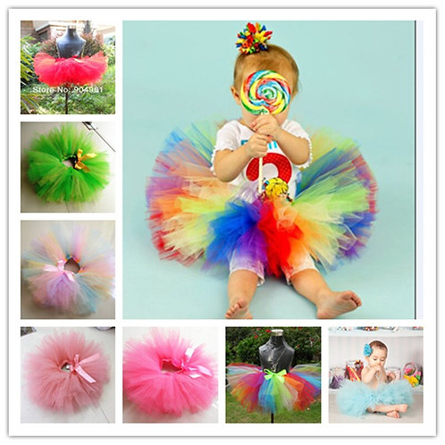 Unicorn Girls Rainbow Color Baby Fluffy Petti Birthday Party Costume Ball Gown