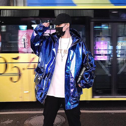 New Fashion Male Nightclub Show Pu Leather Long Jacket Loose Coat Team