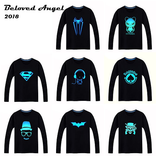 2018 Luminous Long Sleeve T-Shirt for Boys T Shirt Batman Christmas Teen Girl