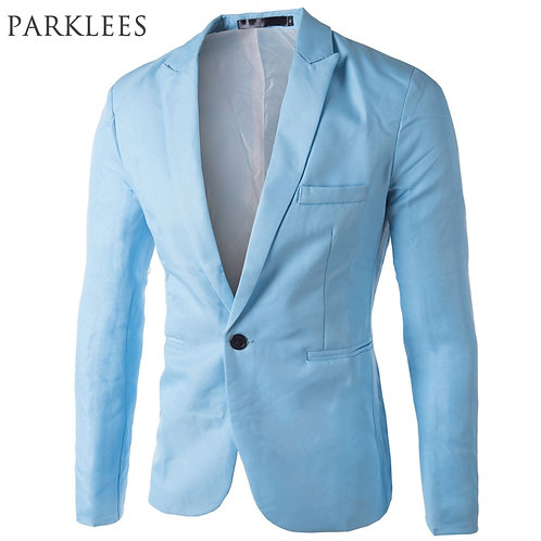 Brand Sky Blue Blazer Men Slim Fit Blazer Jacket Stylish Red Black Pink Suit Men