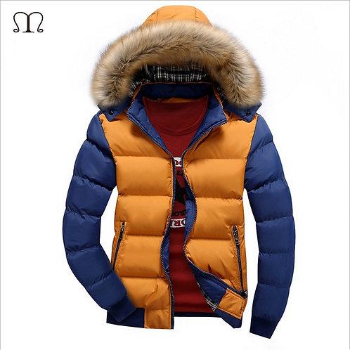 Winter Down Coat Men Casual Fur Hooded Cotton Padding Parka Mens