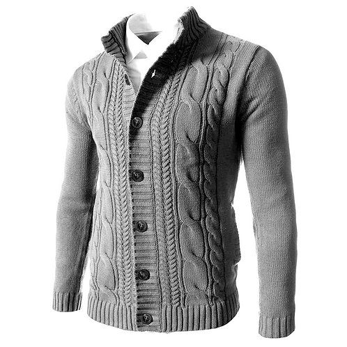 Autumn Winter Smart Casual Sweater Men Thick Solid Color