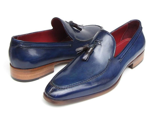 Paul Parkman Men's Tassel Loafer Blue Hand Painted Leather