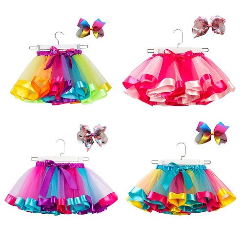 Free Bow+Tutu Skirt 12m-8t Cute Kids Princess Colorful Tulle Skirts Summer