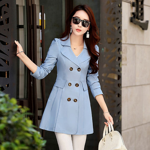 New Women's  Double Breasted Windbreaker Outerwear Female Casual Trench Coat