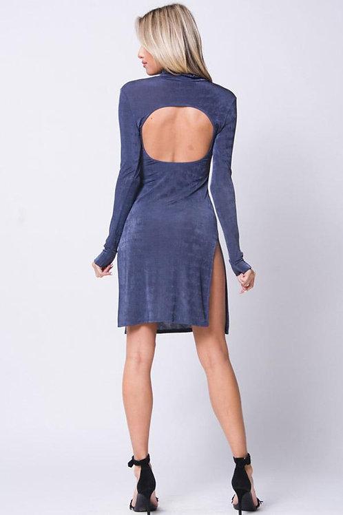 Mock Neck Side Slit Dress