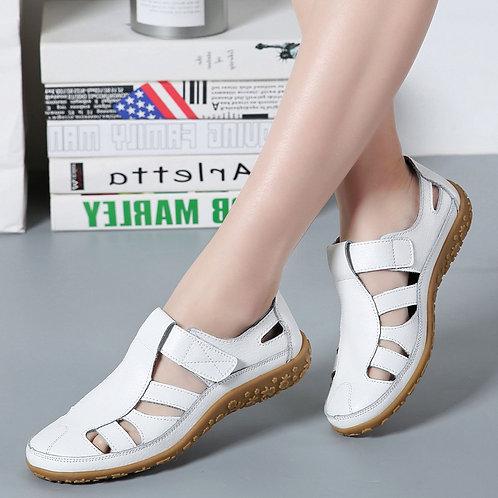 Split Leather Flat Sandals Women Fashion Summer Shoes Anti-Slip Soft Sole Ladies