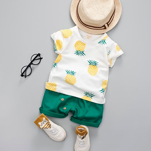 Baby Boys Girls Summer Clothes Set Fashion Cotton Printed Fruit Sports Suit