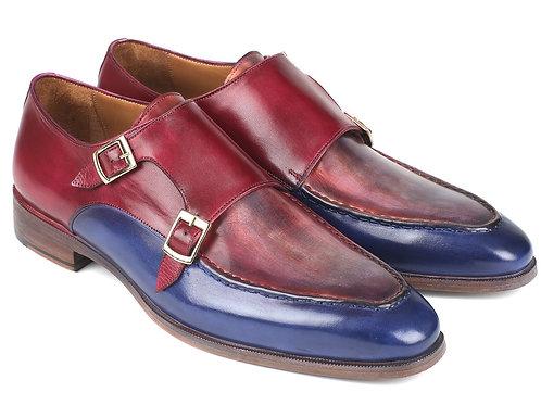 Paul Parkman Blue & Bordeaux Double Monkstraps