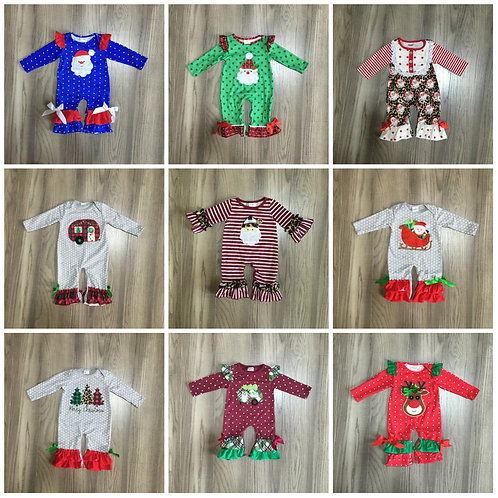 Christmas Tree Baby Girls Kids Wear Romper Leopard Stripe Santa Claus Toddler