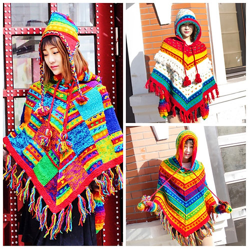 New Fashion Hooded Coat Loose Outerwear Hand Made National Women Sweaters