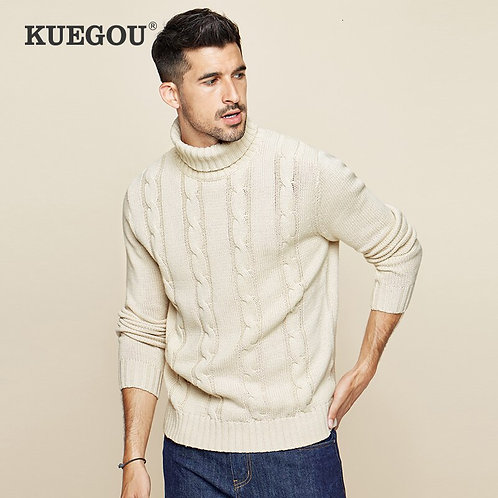 KUEGOU 2019 Autumn Cotton Khaki Turtleneck Sweater Men