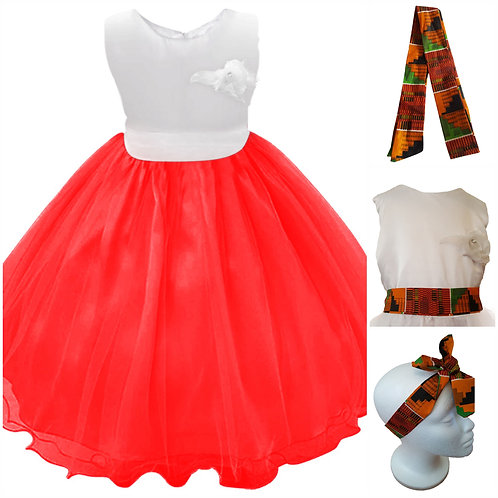 Novarena Kente African Print Red and White Girls Dresses - Flowers, Bow TiE