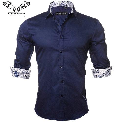 Men's Shirt Fashion Casual Long Sleeve Solid 100% Cotton Slim Shirts