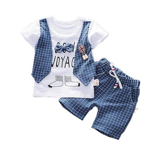 New Summer Children Boys Girl Cotton Clothes Kids Bowknot T-Shirt Shorts 2pcs