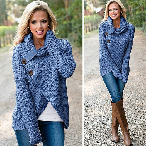 Women Long Sleeve Sweater Scarf Collar Solid Warm Knitted Sweater