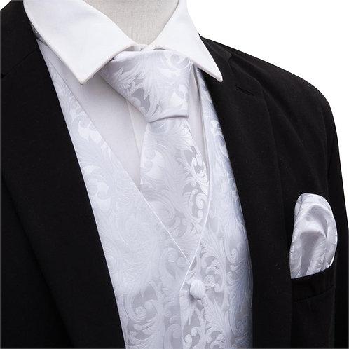 Men Solid White Suit Vest Silk Waistcoat Formal Paisley Ties Cufflinks Pocket