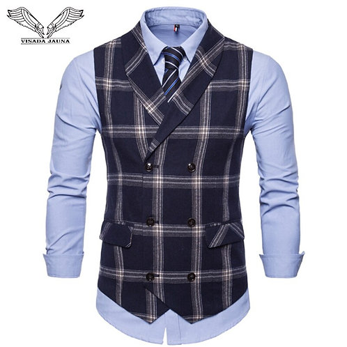 VISADA JAUNA Autumn New Vest Men's Double-Breasted Large Lattice Suit Vest Men's