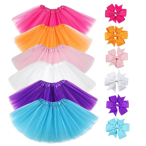 0-8y Pink Tutu Skirt With Hear-Clip for Kids Princess Girls Petticoats Birthday
