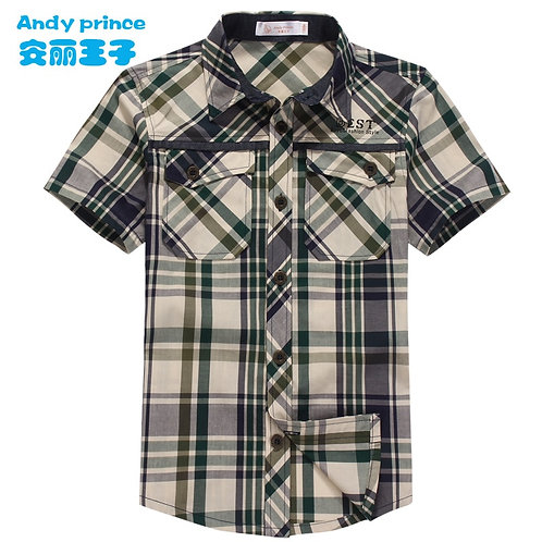 Free Shipping Boys Summer Short-Sleeve Shirt Children's Clothing Green Red
