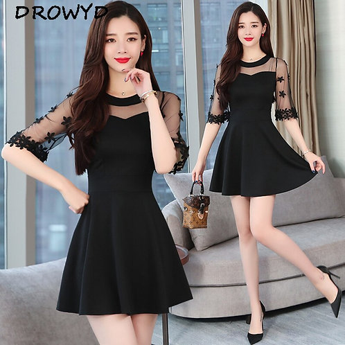 Summer Fashion Chiffon Black Sexy Mini Dress Women 2019 New Casual Elegant