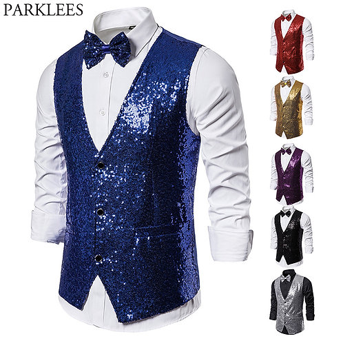 Shiny Royal Blue Sequin Dress Vests Men Slim Fit v Neck Glitter Waistcoat Mens