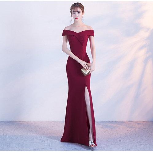 Off Shoulder Burgundy Evening Dress/ Girls Wedding Party Dress