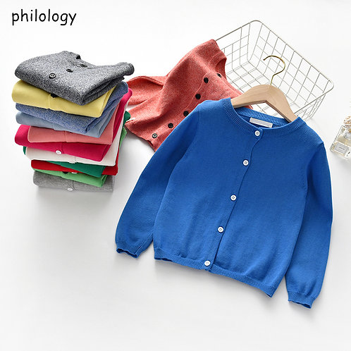 PHILOLOGY Spring Autumn Knitted Cardigan Sweater Baby Children Clothing