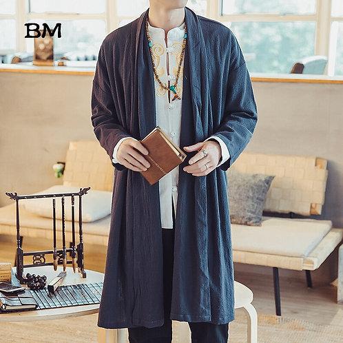 Mens Long Length Windbreaker Jacket Coat Summer Thin Kimono Coat Vintage Male